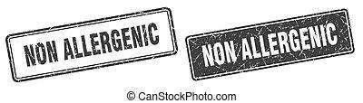 non allergenic square stamp. non allergenic grunge sign set