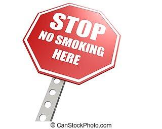 non, arrêt, ici, signe, fumer, route