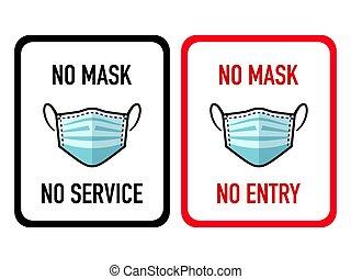 non, autocollants, magasin, masque