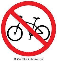 non, bicycles, signe, règles, vecteur, trafic, illustration