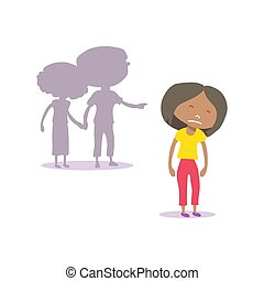 Non-binary person isolated on white background. Social problems: homophobia, offending, bullying, Flat design. Vector illustration.