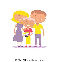Non-binary person isolated on white background. Happy family. Flat design. Vector illustration. Design element for leaflet, booklet, banner.