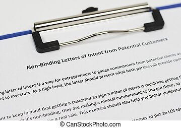 Non-binding letter of Intent from potential customers