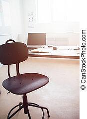 non, bureau, table, position, vacant, travail, gens