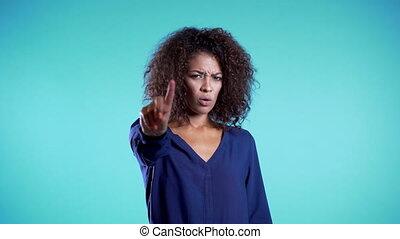 non, business, gesture., désapprouver, nier, négation, faire, africaine, doigt, signe, ne pas être d'accord, rejeter, beau, portrait, gir, main