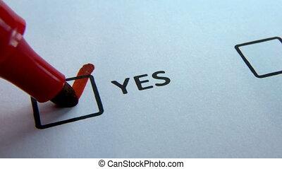 non, checkbox, haut, écrire, marqueur, réponse, fin, oui, rouges