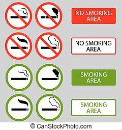non, cigarette, symboles, interdit, fumée, fumer