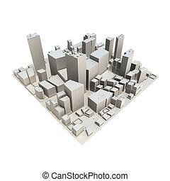 non, -, cityscape, modèle, ombre, 3d