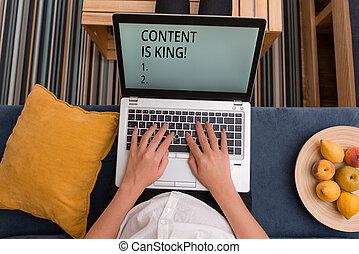 non, conceito, king., texto, busca, visibilidade, conteúdo, crescendo, significado, focalizado, pago, marketing, results., letra