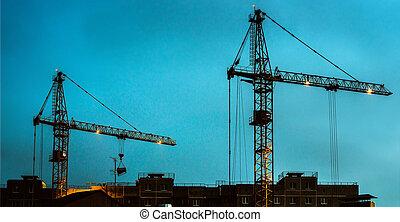 non, construção, parada