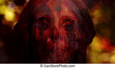 non, crâne, ange, horreur, terrifiant, faire boucle, statue