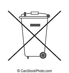 non, déchets ménagers, grand, icône, casier