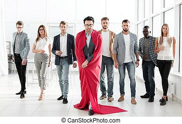 non decisivo, affari, piombi, mantello, squadra, uomo affari, superman's