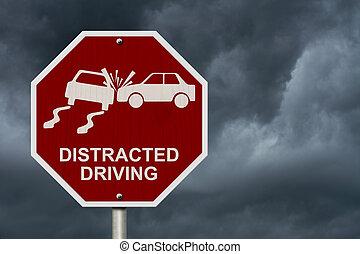 non, distrait, conduite, signe