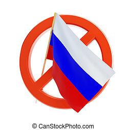 non, drapeau, russie, icône, sur, a, fond blanc