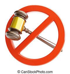 non, droit & loi, sur, a, fond blanc