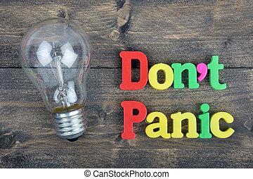 non faccia, panico, su, tavola legno