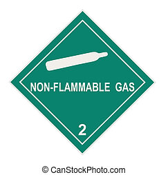 United States Department of Transportation non-flammable gas warning label islolated on white