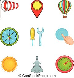 Non-flying weather icons set, cartoon style - Non-flying...