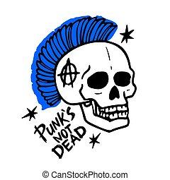 non, fondo., morto, parole, illustrazione, vettore, music., punk, mohawk, roccia, bianco, skull., teppisti
