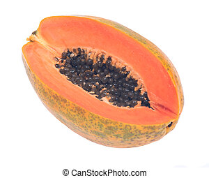 Non gmo mexican papaya isolated on white background