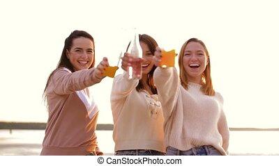 non, grillage, alcoolique, femmes, jeune, boissons, plage