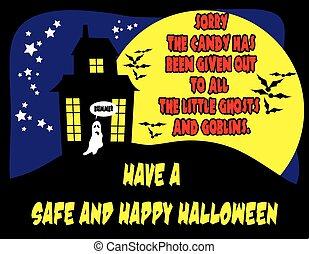 non, halloween, bonbon, signe