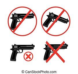 non, icône, -, fusil, ensembles