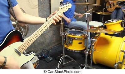 non identifié, musiciens, studio, jouer