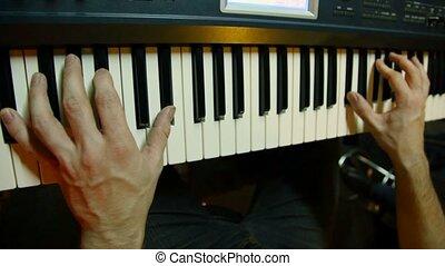 non identifié, synthétiseur, enregistrement, joueur, studio, clavier, jouer