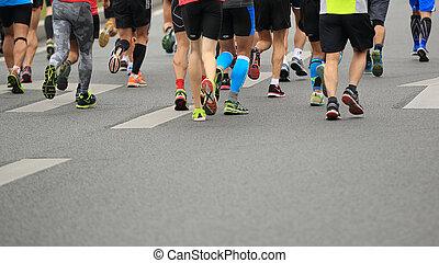 non identificato, gambe, atleti, maratona