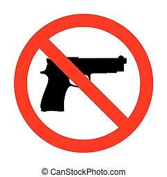 non, illustration., fusil, signe