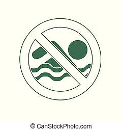non, illustration, signe, vecteur, prohibition, icon., natation