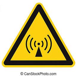 Non-ionizing radiation hazard safety area, danger warning sign sticker label, large icon signage, isolated black triangle over yellow, macro closeup