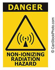 Non-ionizing radiation hazard safety area, danger warning text sign sticker label, large icon signage, isolated black triangle over yellow, macro closeup