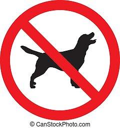 non, isolé, illustration, signe, arrière-plan., vecteur, blanc, chiens