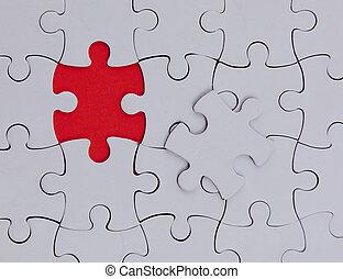 non, là, puzzle., une, élément, vide