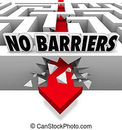 non, liberté, smashes, murs, par, flèche, barrières, labyrinthe