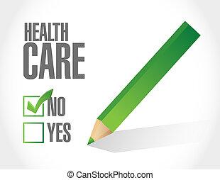 non, liste, illustration, contrôle santé, soin