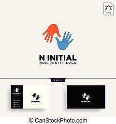 non, lucro, ilustração, mão, vetorial, modelo, logotipo, elemento, cuidado, ícone