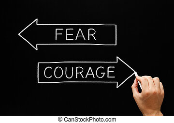 non, mots, courage, peur, antonyme, concept