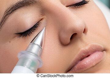 non, mulher, rejuvenation, cosmético, cirúrgico, facial., tendo