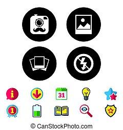 non, photo, signe., flash, appareil photo, lumière, icon.