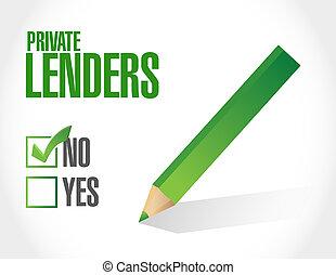 non, privé, lenders, approbation, signe, concept