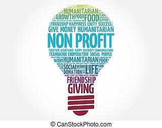 Non Profit bulb word cloud collage concept