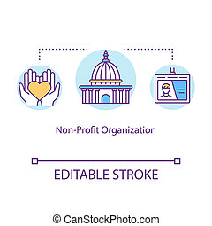 Non-profit organization concept icon. Donating and volunteering. Social services center. Charity idea thin line illustration. Vector isolated outline RGB color drawing. Editable stroke