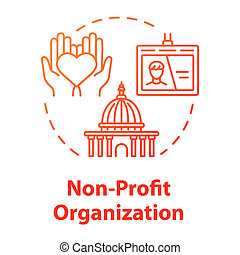 Non-profit organization concept icon. Volunteering and goodwill. Social services center. Charity sponsor idea thin line illustration. Vector isolated outline RGB color drawing. Editable stroke