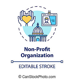 Non-profit organization concept icon. Volunteering and goodwill. Social services center. Charity idea thin line illustration. Vector isolated outline RGB color drawing. Editable stroke