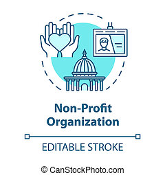 Non-profit organization concept icon. Volunteering and goodwill. Social services center. Philanthropy idea thin line illustration. Vector isolated outline RGB color drawing. Editable stroke
