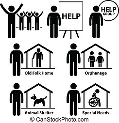 A set of human pictograms representing the volunteers of non profit organization and foundations for old folks home, orphanage, animals shelter, and people in special needs.
